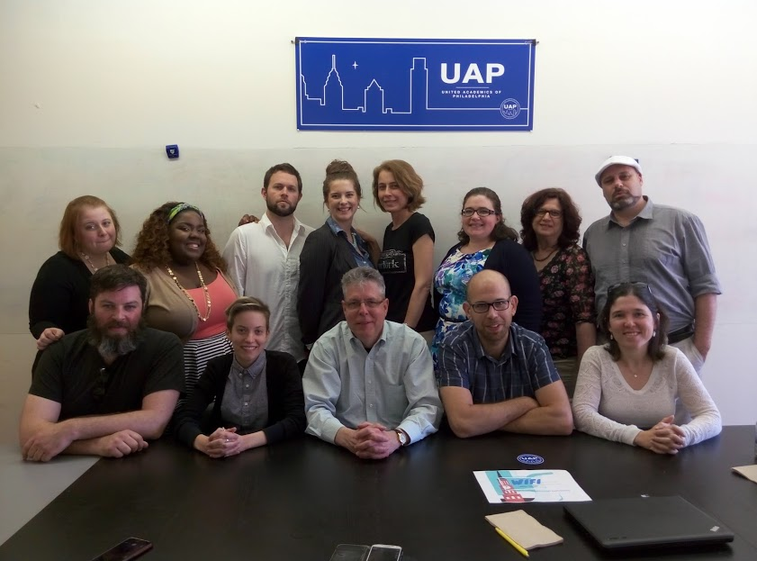 פגישה של המשלחת עם מנהיגי איגוד המרצים מן החוץ בפילדלפיה